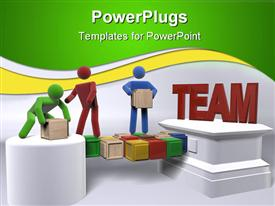 PowerPoint template displaying teamwork metaphor with 3D people moving boxes, team building