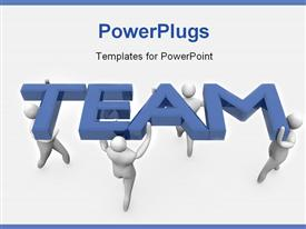 Group of 3D men acting as team. High Resolution 3D render template for powerpoint