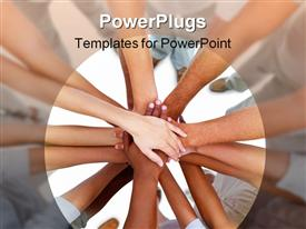 PowerPoint template displaying group work hands connected together strength teamwork unity collaboration