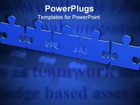 PowerPoint template displaying puzzle pieces lined side by side on blue background depicting teamwork