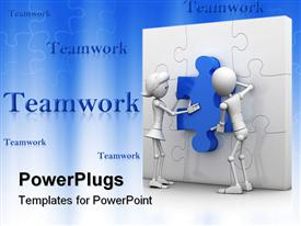 PowerPoint template displaying teamwork with man and woman putting blue piece in white puzzle