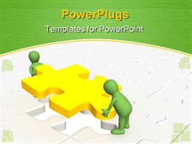 PowerPoint template displaying two green colored 3D human characters lifiting up a yellow puzzle
