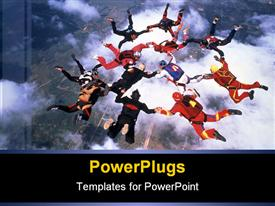 PowerPoint template displaying people sky diving in formation