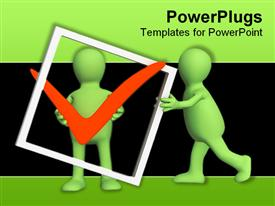 PowerPoint template displaying two green colored characters holding and pushing a check sign