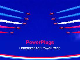 PowerPoint template displaying red aircrafts performing stunt in sky with colored fumes from exhaust