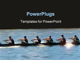 Speeding rowing boat with motion blur to accent speed powerpoint design layout