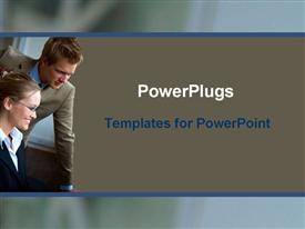 PowerPoint template displaying team of businessman and businesswoman