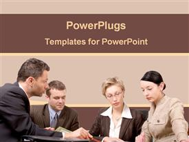 PowerPoint template displaying team of businessmen and women working together