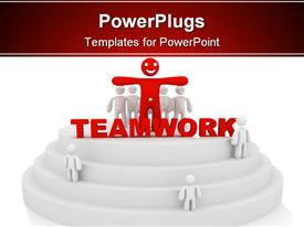 PowerPoint template displaying teamwork concept computer generated depiction for special design in the background.