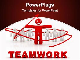 PowerPoint template displaying teamwork leadership concept computer generated depiction for special design in the background.