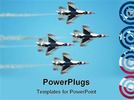 PowerPoint template displaying four thunder bird jet planes moving fast in the air