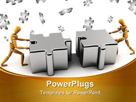 PowerPoint template displaying two gold colored robots pushing two puzzle pieces together