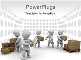 PowerPoint template displaying workers stacking delivery boxes in the background.