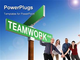 PowerPoint template displaying team put hands together with green TEAMWORK signpost over blue sky
