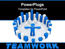 PowerPoint template displaying success teamwork concept computer generated depiction for special design in the background.