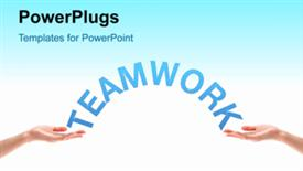 PowerPoint template displaying teamwork concept with video background on the first slide and text slides on next slides