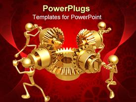 PowerPoint template displaying four 3D golden figures working in team to make mechanical gear work