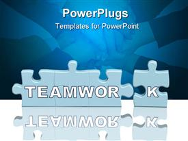 PowerPoint template displaying puzzle pieces with Teamwork in front of pile of hands