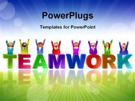 PowerPoint template displaying team in different colors over the word Teamwork with landscape in background