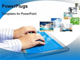 PowerPoint template displaying touch tablet concept depictions streaming from the deep in the background.