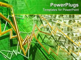 PowerPoint template displaying stock market money concept 3D