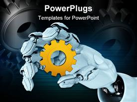 PowerPoint template displaying hand of the abstract robot holds a gear in the background.