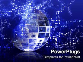 PowerPoint template displaying abstract representation of Globe depicting technical data information interchange, glowing dots on blue background