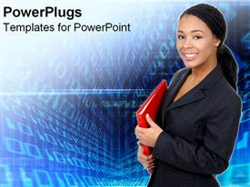 PowerPoint template displaying african American business women with red folder in hand looking happy