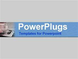 PowerPoint template displaying blue collection of diskette & CD ROM drives
