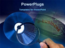 PowerPoint template displaying cD details on a magnifying glass showing e-business