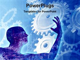 PowerPoint template displaying man with circuit board as skin with gears in background