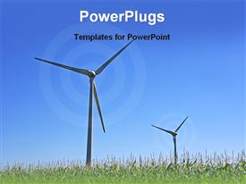 PowerPoint template displaying two windmills on a grassy field and circular shapes depicting rotation of windmills on blue sky background