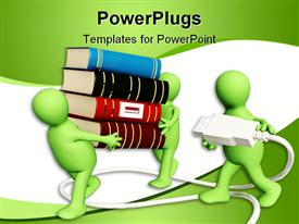 PowerPoint template displaying two green figures carrying a large stack of books, with a third figure carrying a power cord