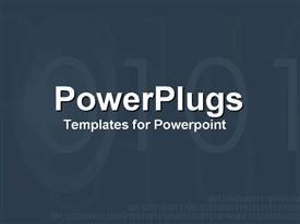 PowerPoint template displaying black background with dark gray binary numbers