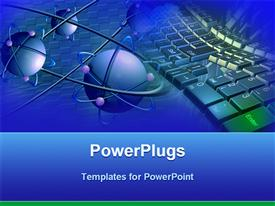 PowerPoint template displaying blue atoms with purple electrons and a keyboard in the background
