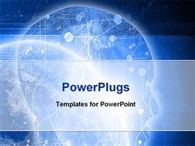 PowerPoint template displaying digital design technology space humanity and technology blue space background