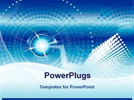 PowerPoint template displaying futuristic technology blue color background