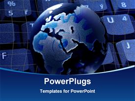 PowerPoint template displaying black and blue colored earth globe on a computer keyboard
