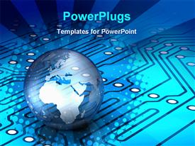 PowerPoint template displaying globe world Earth with blue circuit board, technology, IT