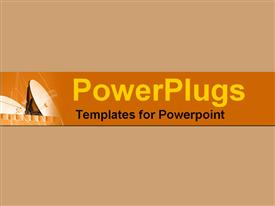 PowerPoint template displaying a plain orange background tile with a large satellite