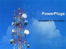 PowerPoint template displaying technology theme with high antenna satellite dishes white clouds on blue sky