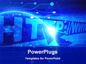 PowerPoint template displaying internet with some integrated technology elements