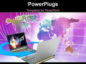 PowerPoint template displaying digital background with two laptops facing and connected to each other