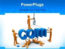 PowerPoint template displaying various figures constructing the .com word