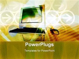 PowerPoint template displaying desktop with a wired mouse on a brown background