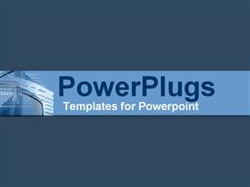PowerPoint template displaying monitors and keyboards on sophisticated blue