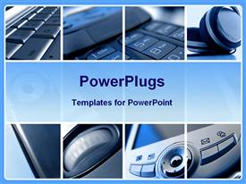 PowerPoint template displaying collage of eight depictions of digital technology, laptop computer keyboard, headphones, mobile phone keys