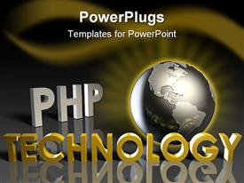 PowerPoint template displaying glowing metallic gray globe framed by glowing golden rays, php technology