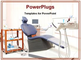 PowerPoint template displaying dentist's office with blue dental chair and dental equipment