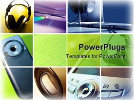 PowerPoint template displaying various forms of technology usage shown in the slides including headphones and mobiles